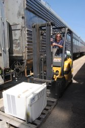 Jeff Calendine drove the fork lift for the air conditioners - Photo by Shelly Vanderschaegen