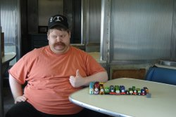 David Stepek displaying his newest Thomas cars - Photo by Shelly Vanderschaegen