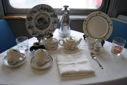 Railroad china and glassware on display for the reunion - Photo by Shelly Vanderschaegen