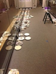 The china is laid out in position of where it will be displayed - Photo by Michael McCraren