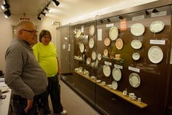 Jim Windmeier and Mark Gellman pondering the dining car china display in the 1st Exhibit Car - Photo by Jon Habegger