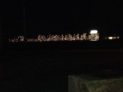 IRM has gone into holiday mode with lights are along the fence by the main parking lot - the Holiday Train starts running next weekend - Photo by Michael McCraren