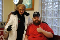 David with Dorothy from the Gift Shop give the thumbs up - Photo by Shelly Vanderschaegen