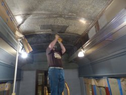 A closer view with a little more progress - still over 50 linear feet of ceiling to go - Photo courtesy of Brian LaKemper
