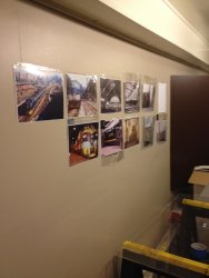 Work has started in Exhibit Car 2 laying out a photo history of Grand Central - Photo by Michael McCraren