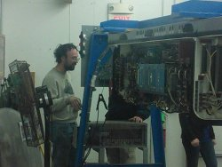 Rich and Brian (almost out of sight) discuss the CTA controller - Photo by Brian LaKemper