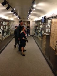 Visitors investigate the new railroad china display - Photo by Michael McCrarren