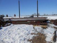 The steel pole storage pile.