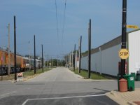 newly installed steel line poles at Central Avenue and Depot Street