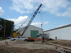 The Bay City crane was used to put the table  and mechanisim in place durring the summer of '07