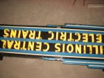 The restored IC electric sign in the B&G shop before mounting on barn 6.