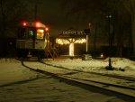 Santa Train awaits passengers at Depot St.