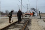 Setting the highrail truck on at Seeman Rd and marking bad ties. 3-5-11