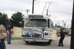 Bill Wagner at the Wheel of CTA Marmon-Herrington 9553 Officially Dedicates the Wagner Loop.