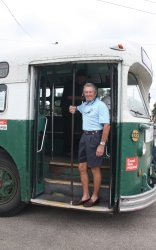 Bill on his favorite model of trolly coach, Marmon-Herrington!!!