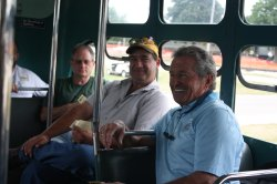 Bill chatting with members Dave Diamond, Bill Wulfert and President Joe Stupar during the first trip.