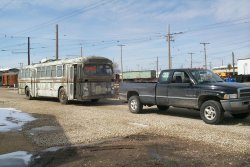 The Dodge Ram does extra heavy duty towing the 2340 to the Trolley Bus Garage (03/17/2001).
