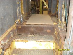 Pic of bad shape of vestibule stairs.  They will not be repaired Jan 2012