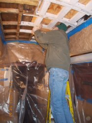 Here's Buzz installing more reinforcement for the ceiling/ roof.  It sure was warmer in Dec,2013
