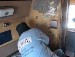 Shelly Vanderschaegen peeling paint in the Pacific Peak on March 3, 2013