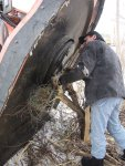 Removing a large chuck of line wire hidden in in the weeds along the tracks...