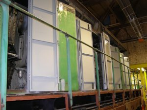 the inside of the engine room doors have been painted