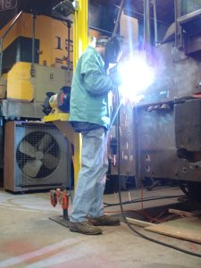 Jamie welding on front end