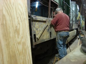 Rich W sanding under cab access door