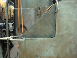 New corner piece of front pilot just before welding it in