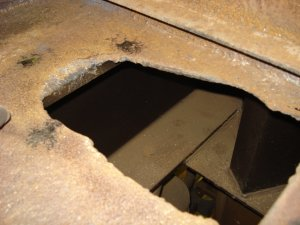 The drain for the toilet was here and this hole will be covered up with a piece of steel, 04-12-08