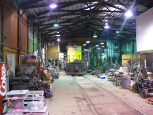 On Thursday night the 6847 was moved into the steam shop to use their drop table to change out a grounded motor.