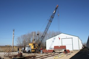 November 26th, the Bay City crane moves the roof off of the drop table.