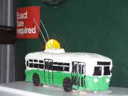 Glenn was honored with a special Trolley Bus cake designed by Julie Piesciuk (10/01/2005).