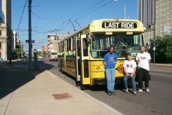 "In Dayton to ""celebrate"" the last operation of the Flyer Trolley Coaches (08/08/1999)."
