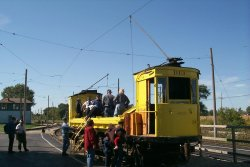 "Going for an open-air ride in the ""Dump Car"" D13 (10/2000)."