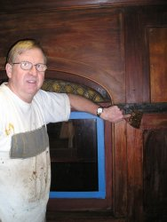 09/22/07 Jack Biesterfeld stripping the mahogany inside the 1094